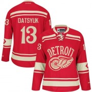 Detroit Red Wings #13 Women's Pavel Datsyuk Reebok Premier Red 2014 Winter Classic Jersey