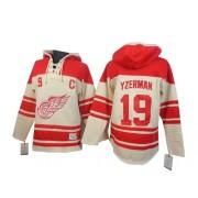 Detroit Red Wings #19 Men's Steve Yzerman Old Time Hockey Authentic Cream Sawyer Hooded Sweatshirt Jersey