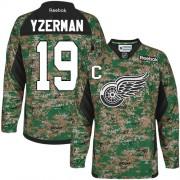 Detroit Red Wings #19 Men's Steve Yzerman Reebok Premier Camo Veterans Day Practice Jersey