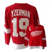 Detroit Red Wings #19 Men's Steve Yzerman CCM Authentic Red Throwback Jersey