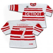 Detroit Red Wings #7 Men's Ted Lindsay CCM Authentic White Throwback Jersey