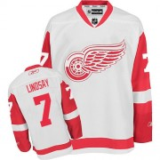 Detroit Red Wings #7 Men's Ted Lindsay Reebok Authentic White Away Jersey