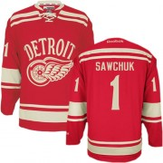 Detroit Red Wings #1 Men's Terry Sawchuk Reebok Authentic Red 2014 Winter Classic Jersey
