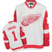 Detroit Red Wings #1 Men's Terry Sawchuk Reebok Authentic White Away Jersey