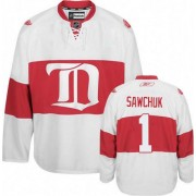 Detroit Red Wings #1 Men's Terry Sawchuk Reebok Authentic White Third Winter Classic Jersey