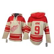 Detroit Red Wings #9 Men's Gordie Howe Old Time Hockey Authentic Cream Sawyer Hooded Sweatshirt Jersey