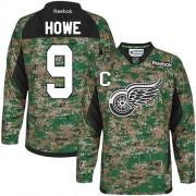 Detroit Red Wings #9 Men's Gordie Howe Reebok Premier Camo Veterans Day Practice Jersey