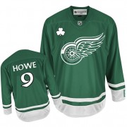 Detroit Red Wings #9 Men's Gordie Howe Reebok Authentic Green St Patty's Day Jersey