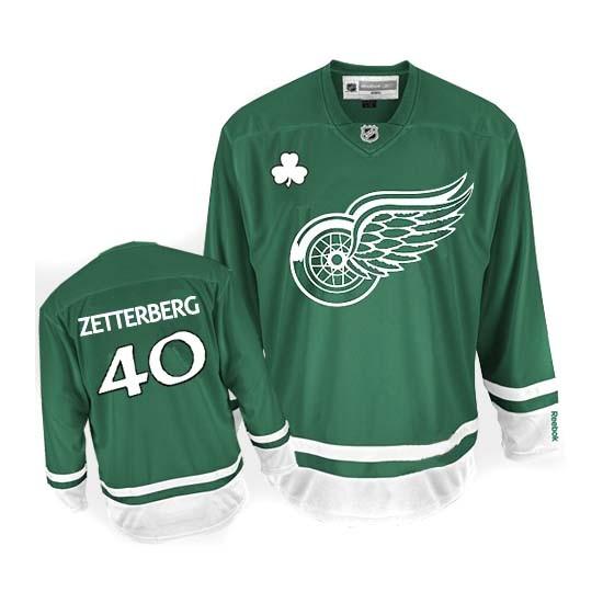 Detroit Red Wings #40 Men s Henrik Zetterberg Reebok Premier Green St  Patty s Day Jersey 698790f8d