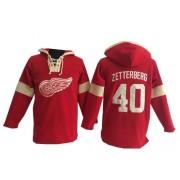 Detroit Red Wings #40 Men's Henrik Zetterberg Old Time Hockey Premier Red Pullover Hoodie Jersey