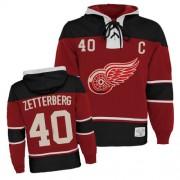 Detroit Red Wings #40 Men's Henrik Zetterberg Old Time Hockey Premier Red Sawyer Hooded Sweatshirt Jersey