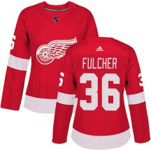 Detroit Red Wings Women's Kaden Fulcher Adidas Authentic Red Home Jersey