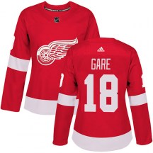 Detroit Red Wings Women's Danny Gare Adidas Authentic Red Home Jersey