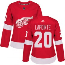 Detroit Red Wings Women's Martin Lapointe Adidas Authentic Red Home Jersey