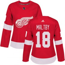 Detroit Red Wings Women's Kirk Maltby Adidas Authentic Red Home Jersey