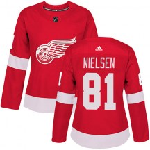 Detroit Red Wings Women's Frans Nielsen Adidas Authentic Red Home Jersey