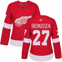 Detroit Red Wings Women's Michael Rasmussen Adidas Authentic Red Home Jersey