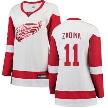 Detroit Red Wings Women's Filip Zadina Fanatics Branded Breakaway White Away Jersey