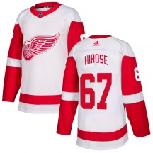 Detroit Red Wings Youth Taro Hirose Adidas Authentic White Jersey