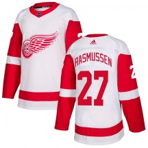 Detroit Red Wings Youth Michael Rasmussen Adidas Authentic White Jersey