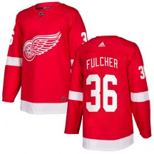 Detroit Red Wings Youth Kaden Fulcher Adidas Authentic Red Home Jersey