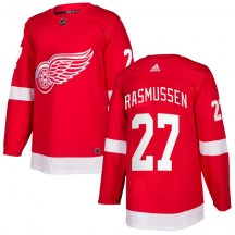 Detroit Red Wings Youth Michael Rasmussen Adidas Authentic Red Home Jersey