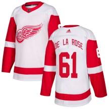 Detroit Red Wings Men's Jacob De La Rose Adidas Authentic White Jersey