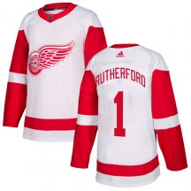 Detroit Red Wings Men's Jim Rutherford Adidas Authentic White Jersey