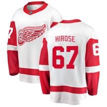 Detroit Red Wings Youth Taro Hirose Fanatics Branded Breakaway White Away Jersey