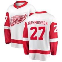 Detroit Red Wings Youth Michael Rasmussen Fanatics Branded Breakaway White Away Jersey