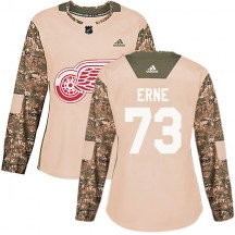 Detroit Red Wings Women's Adam Erne Adidas Authentic Camo Veterans Day Practice Jersey
