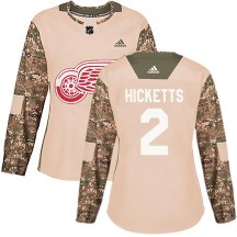 Detroit Red Wings Women's Joe Hicketts Adidas Authentic Camo Veterans Day Practice Jersey