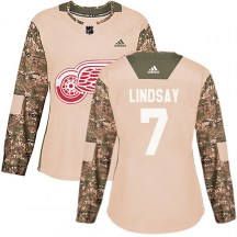 Detroit Red Wings Women's Ted Lindsay Adidas Authentic Camo Veterans Day Practice Jersey