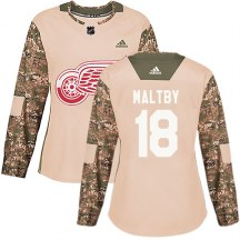 Detroit Red Wings Women's Kirk Maltby Adidas Authentic Camo Veterans Day Practice Jersey