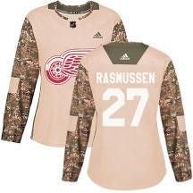 Detroit Red Wings Women's Michael Rasmussen Adidas Authentic Camo Veterans Day Practice Jersey