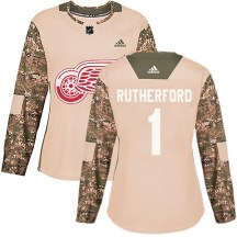 Detroit Red Wings Women's Jim Rutherford Adidas Authentic Camo Veterans Day Practice Jersey
