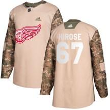 Detroit Red Wings Men's Taro Hirose Adidas Authentic Camo Veterans Day Practice Jersey
