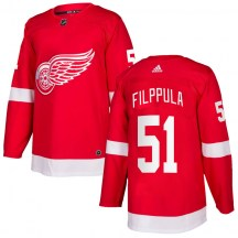 Detroit Red Wings Men's Valtteri Filppula Adidas Authentic Red Home Jersey