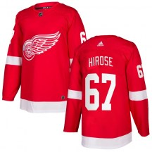 Detroit Red Wings Men's Taro Hirose Adidas Authentic Red Home Jersey