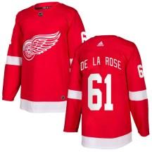 Detroit Red Wings Men's Jacob De La Rose Adidas Authentic Red Home Jersey