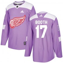 Detroit Red Wings Men's David Booth Adidas Authentic Purple Hockey Fights Cancer Practice Jersey