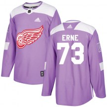 Detroit Red Wings Men's Adam Erne Adidas Authentic Purple Hockey Fights Cancer Practice Jersey