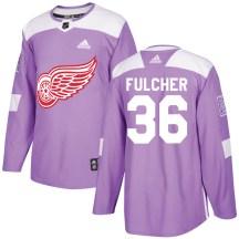 Detroit Red Wings Men's Kaden Fulcher Adidas Authentic Purple Hockey Fights Cancer Practice Jersey