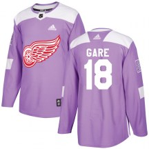 Detroit Red Wings Men's Danny Gare Adidas Authentic Purple Hockey Fights Cancer Practice Jersey