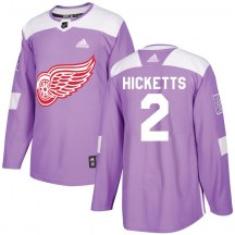 Detroit Red Wings Men's Joe Hicketts Adidas Authentic Purple Hockey Fights Cancer Practice Jersey