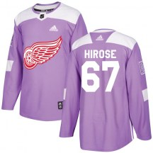 Detroit Red Wings Men's Taro Hirose Adidas Authentic Purple Hockey Fights Cancer Practice Jersey
