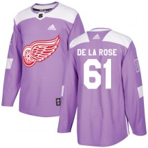 Detroit Red Wings Men's Jacob De La Rose Adidas Authentic Purple Hockey Fights Cancer Practice Jersey