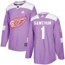 Detroit Red Wings Men's Terry Sawchuk Adidas Authentic Purple Hockey Fights Cancer Practice Jersey