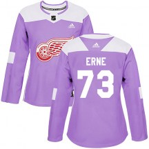 Detroit Red Wings Women's Adam Erne Adidas Authentic Purple Hockey Fights Cancer Practice Jersey