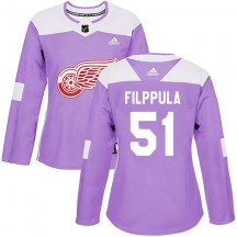 Detroit Red Wings Women's Valtteri Filppula Adidas Authentic Purple Hockey Fights Cancer Practice Jersey